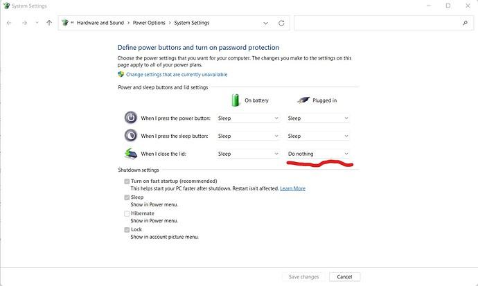 Windows 11 Laptop Lid Power Settings